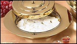 Communion Tray Center Bread PlateBrass Finish Stainless S...