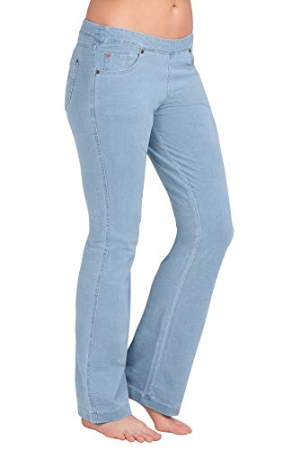 PajamaJeans Womens Bootcut Stretch Knit Denim Jeans, Clearwater Wash, Small 4-6 (The Most Expensive Woman In The World)