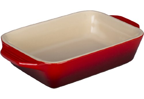 Le Creuset Stoneware Rectangular Dish, 7 by 5-Inch, Cerise (Cherry Red)
