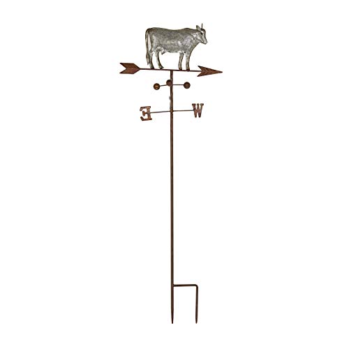 (Metal Grey Cow Weathervane Stand Farm Compass Decor Weather Vanes for Yard Rustic Country Decorative Farmhouse Barn Vintage Antique Direction Arrow Wind Spinner, Galvaninzed)