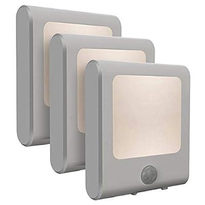 Vintar Motion Sensor Dimmable LED Night Light, Plug-in Nightlight with Auto Dusk to Dawn Sensor, Adjustable Brightness Warm White Lights for Hallway, Bedroom, Kids Room, Kitchen, Stairway, Bathroom