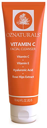 OZNaturals Vitamin C Face Wash: Natural Facial Cleanser for Oily, Dry, and Sensitive Skin - Paraben Free Face Cleaner for Men and Women - Daily Exfoliating Facial Cleansers for Aging Skin - 4 Fl Oz
