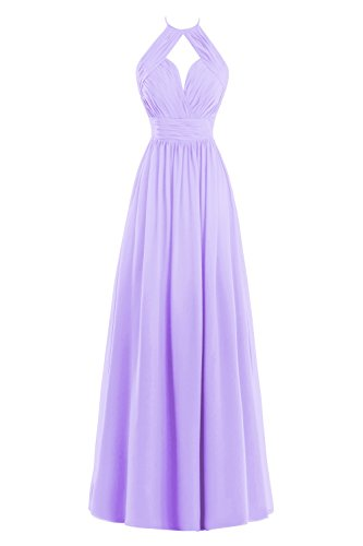 Bess Bridal Women's A Line Halter Pleats Long Chiffon Bridesmaid Dress Lilac