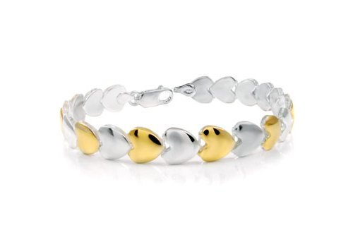 Addicting Charms Sterling Silver 925 Stampato Two Tone Hollow Heart 90% Hand Made Bracelet