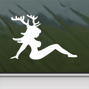 Sexy Chic With Deer Horns White Sticker Laptop Vinyl Window White Decal