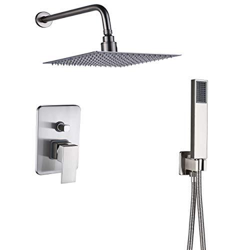 Rozin Bathroom 2-way Mixer Control Kit Shower Combo Set 10-inch Rainfall Shower Head + Handheld Spray Brushed Nickel
