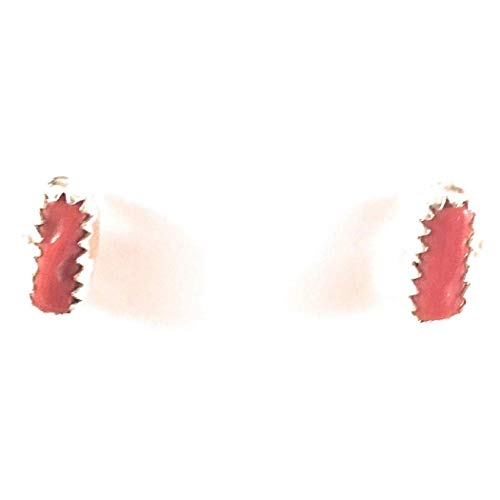 Navajo Sterling Silver And Coral Stud Earrings