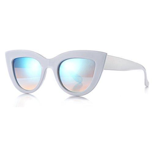 (Retro Cateye Sunglasses for Women Fashion Mirror UV400 Protection Cat Eye Sun Glasses (White Frame/Blue Mirror Lens))