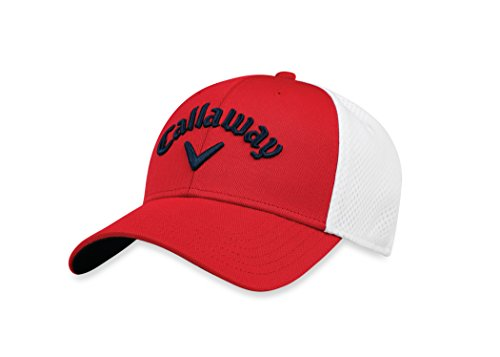 Callaway Golf 2018 Mesh Fitted Hat, Red/ White, Large/ X-Large