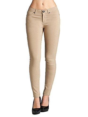 Emmalise Women's Basic Jean Look Jeggings Tights Spandex Skinny Leggings (Khaki, 2XL)