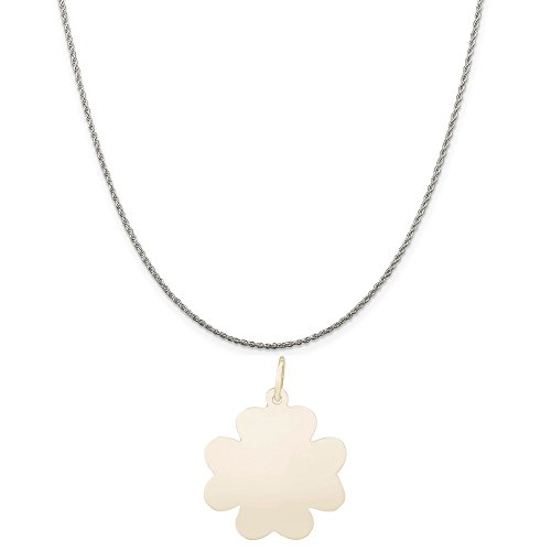 Rembrandt Charms Two-Tone Sterling Silver Flat Clover Charm on a Sterling Silver Rope Chain Necklace, 18