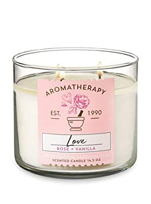 Bath & Body Works 3-Wick Aromatherapy Candle in LOVE — ROSE & VANILLA