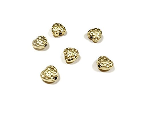 Foxy Findings 15 Pieces Adorable Tiny Textured Heart Spacer Beads 24K Gold Plated Brass Heart Beads 5x6mm SFG005 ()