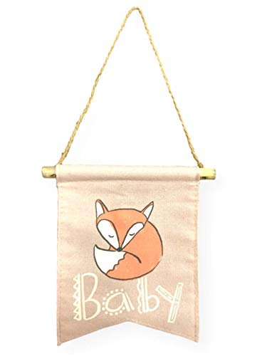 Tag Baby Canvas Banner Baby with Red Fox Nursery Wall Hanging Baby Shower Decoration