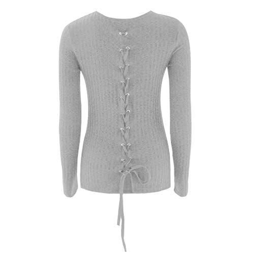 Pullovers Sweaters Womens Casual Long Sleeve O-Neck Bandage Shrugs Coat Blouse ANJUNIE(Gray, M) -