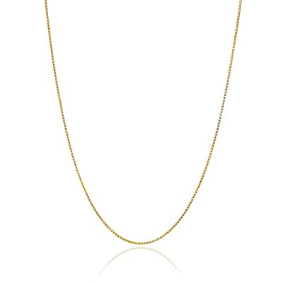 "18K Gold over Sterling Silver .8mm Thin Italian Box Chain Necklace All Sizes 14"" - 40"" from Bling For Your Buck"