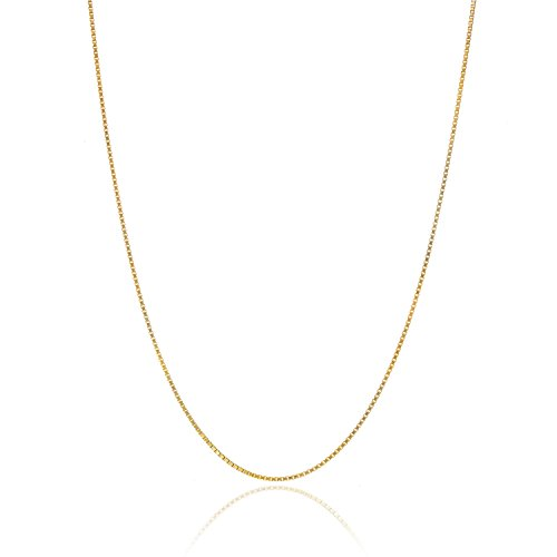 18K Gold over Sterling Silver .8mm Thin Italian Box Chain Necklace - (Gold Italian Jewelry Box)