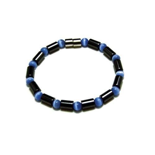 Accents Kingdom Women's Magnetic Hematite Blue Cats Eye B...