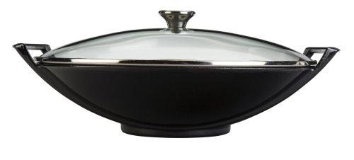 Cast-Iron 14-1/4-Inch Wok with Glass Lid, Black Onyx ()