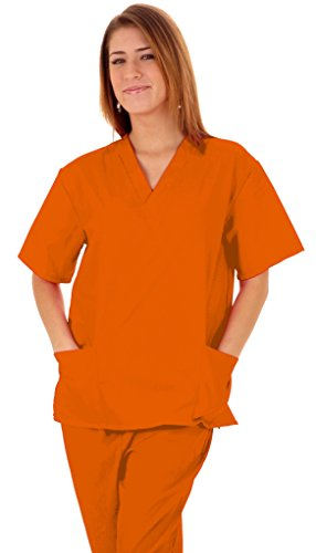 Orange Prison Jumpsuit Womens (NATURAL UNIFORMS Women's Scrub Set Medical Scrub Top and Pants L ORANGE)