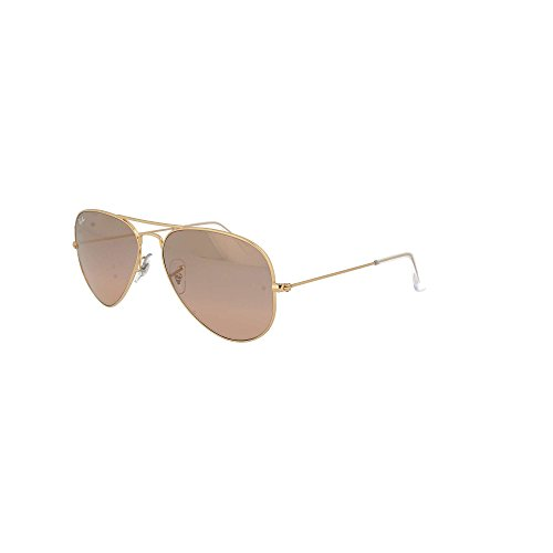 Ray-Ban RB3025 Aviator Sunglasses Gold/Crystal Pink/Brown Mirror (001/3E) RB 3025 55mm