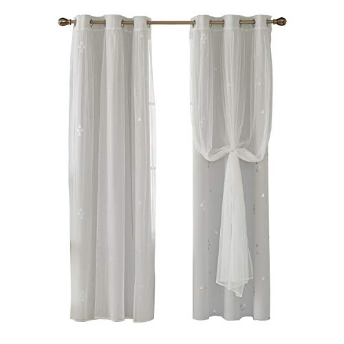 2 Piece Set Bedroom Set - Deconovo Mix and Match Curtain Set 2-Piece Triangle Printed Blackout Window Curtains White and 2-Piece White Sheer Curtains for Bedroom Greyish White with Grommet Top, 4 Curtain Panel, 42W x 84L Inch