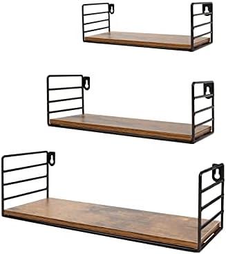 Floating Wall Shelves Set of 3, Rustic Hanging Wall Mount Storage Shelf for Bedroom Shower Bathroom Living Room Kitchen
