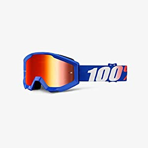 Orange Cycle Parts Strata Junior / Youth MX Motocross Goggles by 100% (Nation Blue, Red Lens)