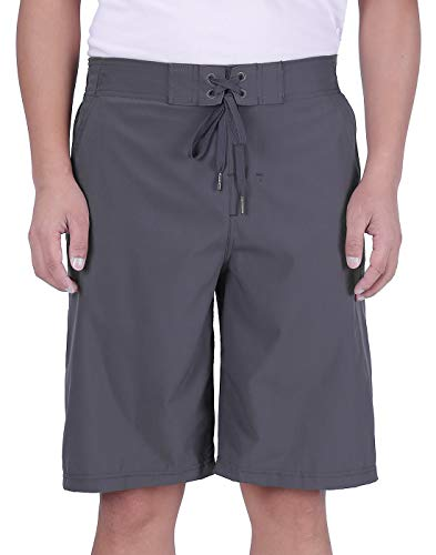 Mens 22 Inch Shorts Charcoal - HDE Men's Chino Boardshorts Hybrid Fit Swim Trunks Quick Dry Beach Swimsuit 22-inch (Charcoal, 38)