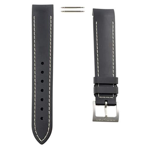 - Black Rubber Strap White Stitching Watch Hamilton Khaki Air Chrono/Sub/King Scuba H600.745.100 20mm