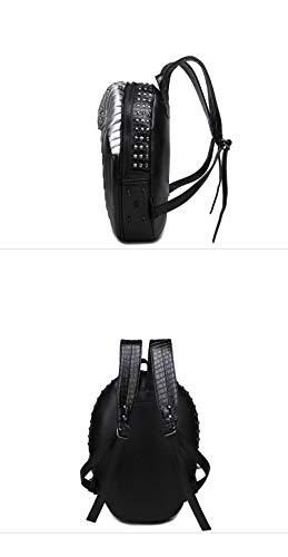 la Hombres mochila de patrón 3D mochila de alta FZHLY de mujeres viaje serpiente 35L realista PU Silver remaches calidad bolsa y 20 de portátil computadora 07qxdO