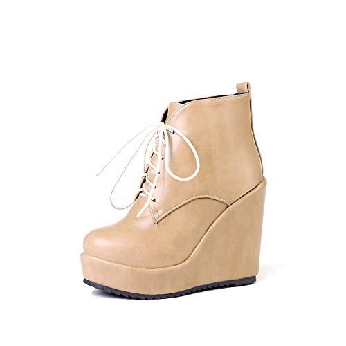 Alti Alti Beige con Tacco Tacco Largo Donna Boots Boots Boots Women's Stivaletti da Warm Basso e TqnwWSE1