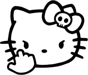 "956e90460 Hello Kitty Middle Finger PREMIUM Decal 5"" White | Diva | JDM | Jeep"