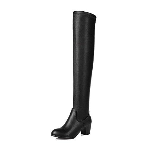 AgooLar Damen Hoch-Spitze Ziehen auf Weiches Material Hoher Absatz Rund Zehe Stiefel, Blau, 38
