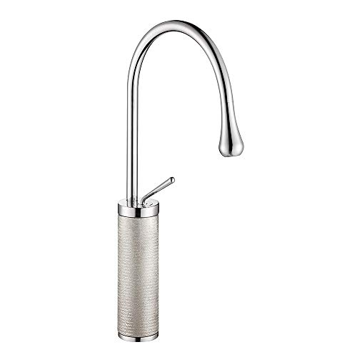 Commercial Stainless Steel Single Lever One Hole Gooseneck High Arc Single Handle Kitchen Sink Faucet, Polished Chrome Spout Bar Faucet