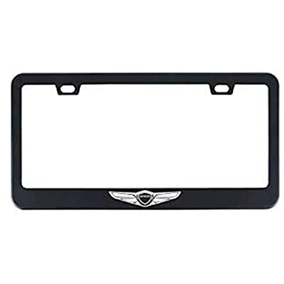 Auggies Black Genesis Sport Coupe 4 Door Black Stainless Steel License Plate Frame Cover Holder Rust Free with Caps and Screws (1): Automotive