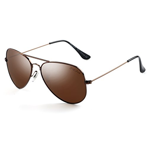 (GREY JACK Polarized Classic Aviator Sunglasses Lightweight Style for Men Women Brown Frame Brown Lens Large)