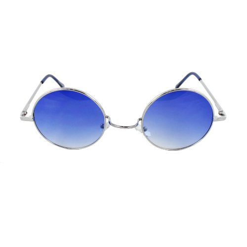 MLC EYEWEAR® Vintage Style Round Silver Hippie Party Shades Sunglasses BLUE - Lenon John Sunglasses