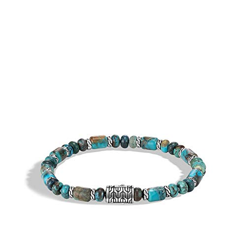 John Hardy Men's Classic Chain Silver Beads Bracelet with Mixed Turquoise with Pusher Clasp, Size M