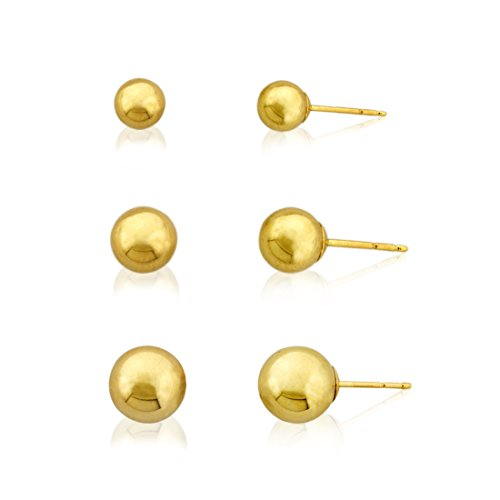 3-Pair 10k Gold Ball Earrings Set 4mm 5mm 6mm (10k Gold Set)