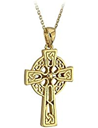 Irish Cross Necklace 10K Yellow Gold Double Sided Made in Ireland