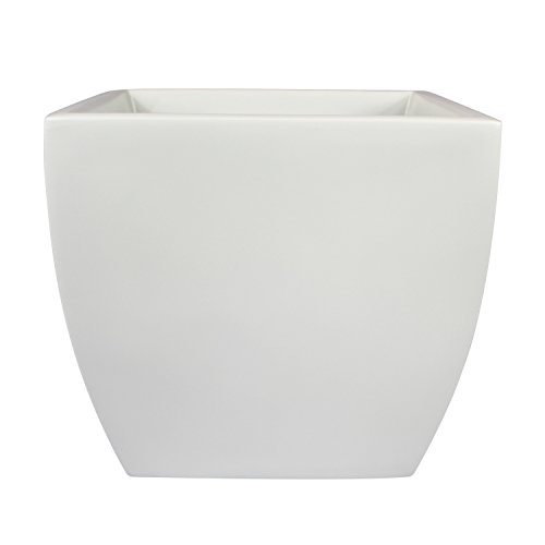Pacifica Square Curved Fiberglass Planter, White, 12 Inch