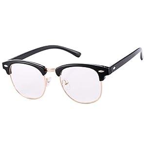 COASION Classic Vintage Clear Clubmaster Glasses for Men Women Horn Rimmed Half Frame Eyeglasses(Matte Black Frame/Clear Lens)