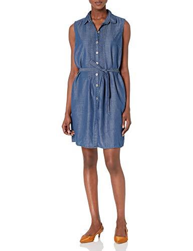 Bandolino Women's Clarice Denim Belted Sleeveless Dress, Denali, S