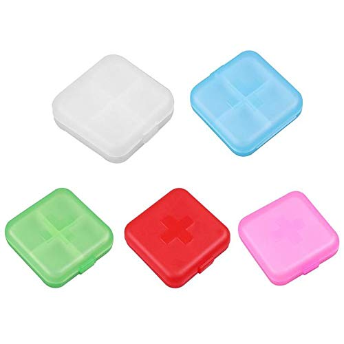 Medicine Pill Boxes with New Design 2019, 1pc Portable 4 Grids Pill Box Drug Tablet Medicine Holder Splitter Storage - Medicine Pills, Pill Holder, Pill Tablet Cutter Splitter, Mini Pill Box (Best Pill Splitter 2019)