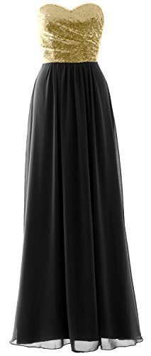 MACloth Elegant Strapless Long Bridesmaid Dress Sequin Chiffon Party Formal Gown Champagne-Black