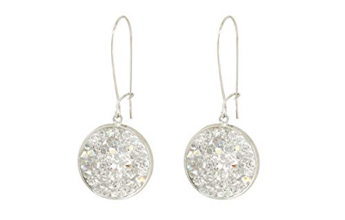 Mia - White Swarovski crystal hanging pave disc earrings, White sparkling crystals pave earrings