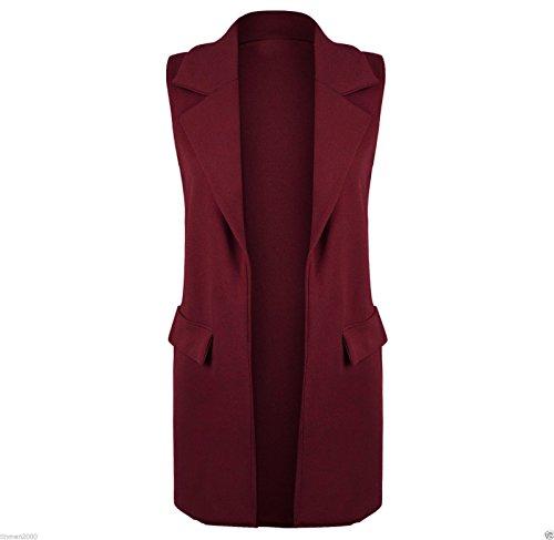 tasche donna aperto cappotto con lungo senza maniche da Wine elegante gilet Janisramone cxAawWnx