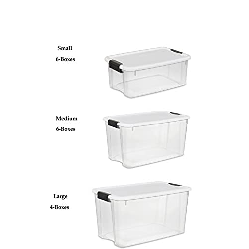 Sterilite Clear Storage Boxes Set, 4 Large, 6 Medium, 6