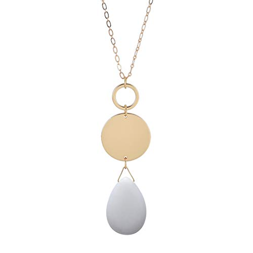 CONCISE ROYAL Long Necklaces for Women with Natural Teardrop Healing Crystal Gemstone Pendant Necklace,Plated Silver Gold Chain Long Necklace,32+ 3 inch Extender Chain (White)